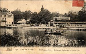 CPA SAMOIS s/ SEINE - Hotel Beau-Rivage - Entrée du Restaurant et des (436674)