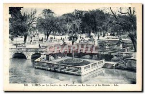 Postcard The Old Nimes Jradin The Fountain Set the Bource and Baths