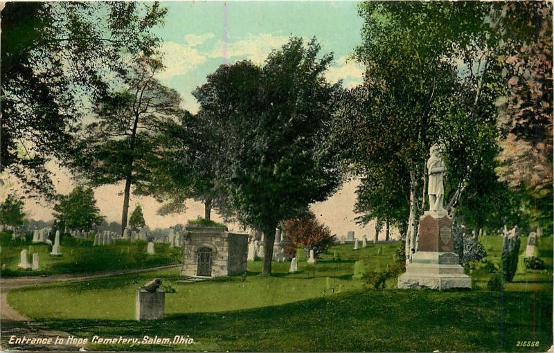 VINTAGE POSTCARD ENTRANCE TO HOPE CEMETARY SALEM OHIO OH