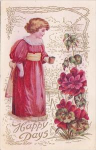 Happy Days Beautiful Girl With Red Flowers Embossed 1909