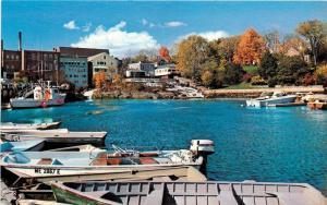 Camden Harbor Boats waterfall Maine ME Postcard