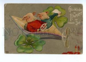 148526 Dressed PIGS in Plane NEW YEAR Vintage Embossed PC