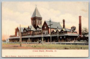 Mendota Illinois~Union Railroad Depot~Horse Buggy~Station Manager at Corner~1907