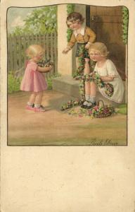 Artist Signed Pauli Ebner, Little Girls with Flowers (1935)