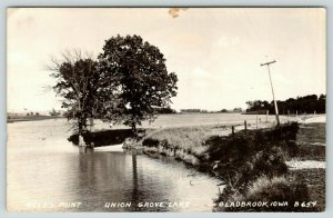 Gladbrook Iowa~Union Grove Lake~Reed's Point~Rowboat in Cove~Our Place~1943 RPPC