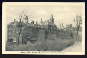 Portland, Maine/ME Postcard, Main General Hospital, Western Promenade