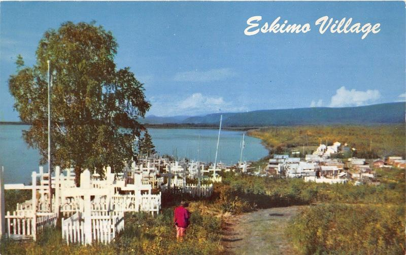 Alaska~Eskimo Village & Graveyard in Arctic Region~Person Standing by Road~1950s