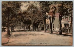 Delaware Ohio~West Winter Street Homes~Children on Sidewalk~c1910 Handcolored PC