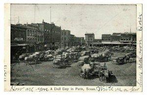 Paris Texas Postcard Multiple Loaded Farm Wagons Horses Store Fronts #75262