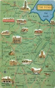 The Fens map posted postcard