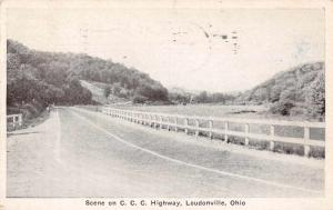 Loudonville Ohio Scene on CCC Highway Antique Postcard J71818