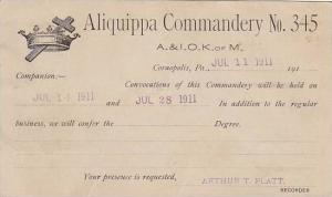 Aliquippa Commandery No 345 , A&I O. KofM , Coraololis , Pennsylvania , 1911