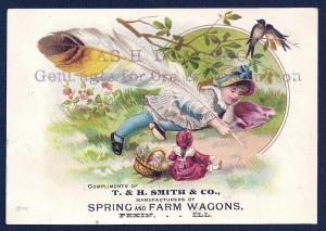 VICTORIAN TRADE CARD T&H Smith Co Spring & Farm Wagons