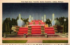 Michigan Jackson Sparks Foundation The Cascades Vivid Night Scene 1959 Curteich