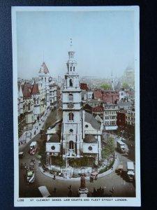London ST. CLEMENTS DANES & FLEET STREET c1920s RP Postcard