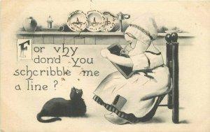 Artist impression Black Cat write Duitch girl Comic Humor 1912 Postcard 20-446