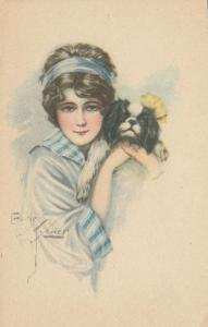 ART DECO ; Female with black & white pekingese, 1910-20s