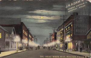 NIAGARA FALLS, New York , PU-1912; The Great White Way (Night)