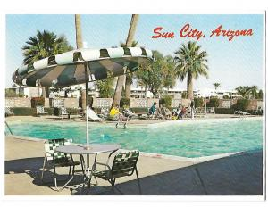 Early View Sun City Pool Area Retirement Arizona 4 by 6 card