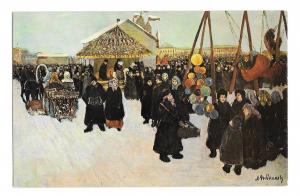 Russia Moscow Celebration Pre Lent Painting A Ribnikoz Artist Signed Postcard