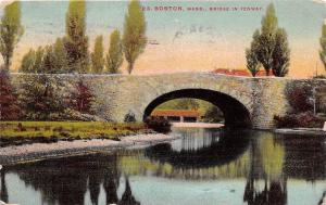 BOSTON MASSACHUSETTS STONE ARCH BRIDGE IN FENWAY POSTCARD 1910