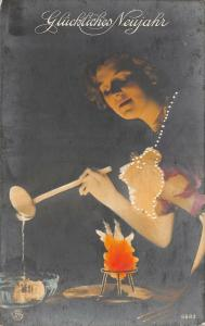 BR74099 neujahr germany new year woman magical powers surrealism