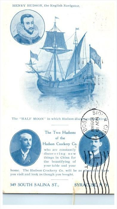 6057   Hudson Crockery Co. Syracuse NY  Hudson-Fulton  Half Moon, the 2 Hudsons