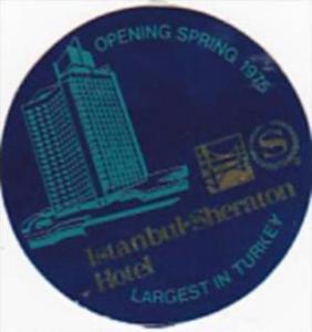 TURKEY ISTANBUL SHERATON HOTEL VINTAGE LUGGAGE LABEL