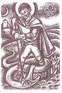 Poster Art Boy Scouting, Boy Handaling A Snake, Czeck Republic , 50s