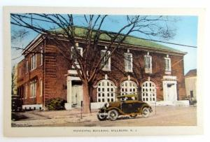 VINTAGE POSTCARD MUNICIPAL BUILDING MILLBURN NJ car automobile