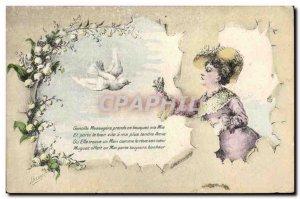 Old Postcard Fantasy Illustrator Woman Dove