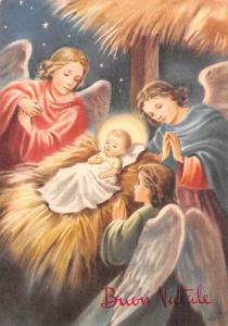 Buon Natale The Birth of Jesus, Angels Praying, Merry Christmas