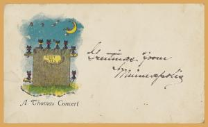 Greetings from Minneapolis, Minn., A Thomas Concert cats on a fence