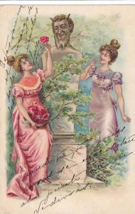 Two Women flirtting with statue, giving a rose, PU