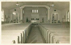 Postcard RPPC Church Sanctuary