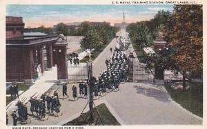 Illinois Great Lakes U S Naval Station Main Gate Brigade Leaving For A Hike C...