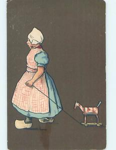 Pre-1907 foreign ANTIQUE HORSE PULL TOWARD BEING PULLED BY GIRL HL7557