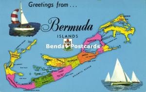 Bermuda Islands, MAP Postcard (1968) Stamp