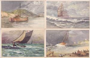 (4 cards) Paintings of Sailing Vessels - Printed in Belgium DB