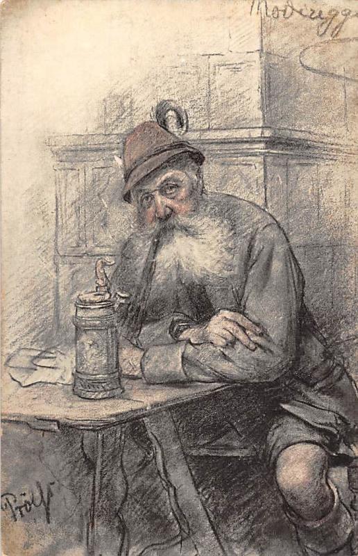 Old Man Inn Fantasy Drawing Hippostcard