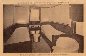 Ocean Liner CHELLA , 1910-30s ; Cabine de luxe a 2 lits avec bains