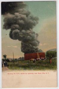 Burning Oil Tank, Rock City NY