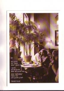 B&W Photo with Tint, People in Cafe, Flirt Poem, Harald Hurst, Germany