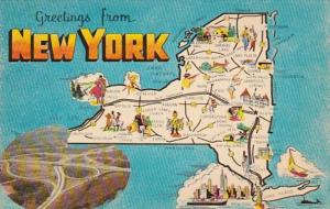 Greetings From New York With Map