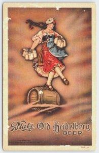 Postcard Blatz Old Heidelberg Beer Girl Balancing On Wooden Beer Keg O1