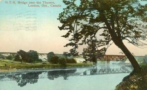 Canada - Ontario, London. Grand Trunk Railroad Bridge over the Thames