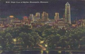Minnesota Minneapois Night View Of Skyline