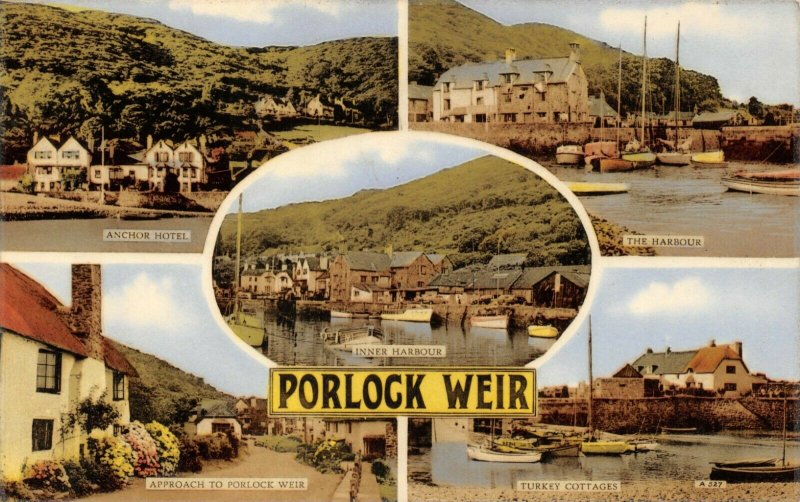 Vintage 1961 Multi View Postcard, Porlock Weir, Somerset 78X