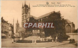 Old Postcard Ghent Gent La Cathedrale Saint Babon and the Monument of the bro...