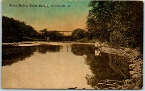 Humboldt, Iowa Postcard Scene Below River Bridge c1910s Unused